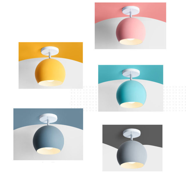Colored Metal Ceiling Light with Incandescent Bulbs
