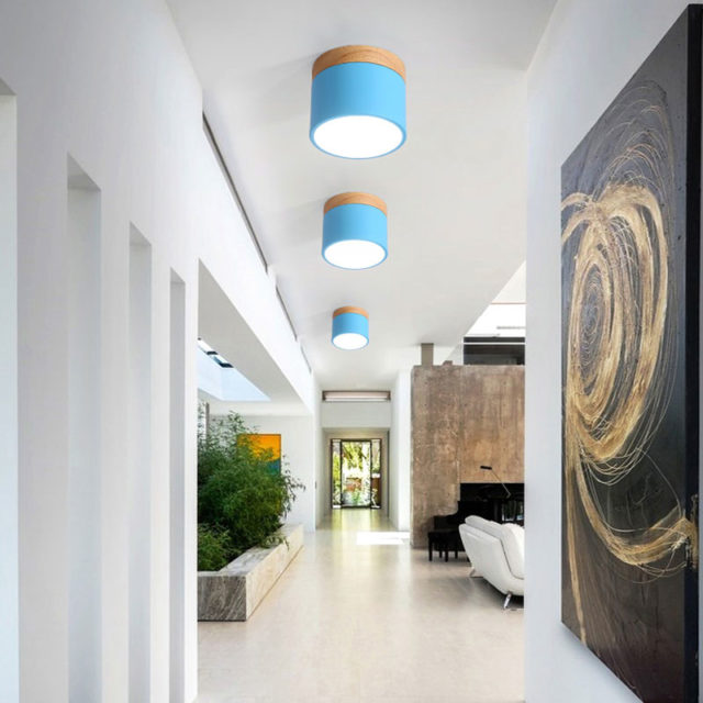 Small Round Wooden LED Ceiling Light