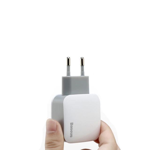 White EU Plug with Two USB Ports