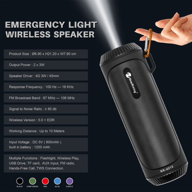 Bluetooth Waterproof LED Flashlight Speaker